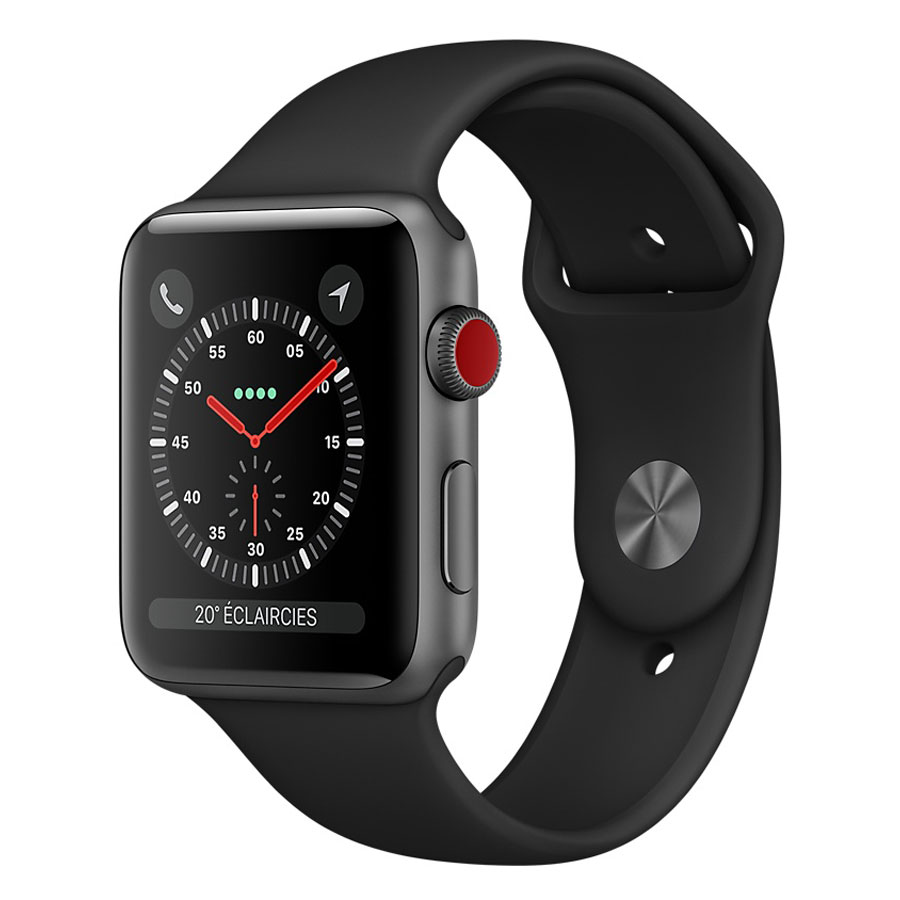 Montre connectée Apple Watch Series 3 GPS + Cellular Aluminium Gris Sport Noir 42 mm Montre connectée - Aluminium - Etanche 50 m - GPS/GLONASS - Cardiofréquencemètre - Ecran Retina OLED 390 x 312 pixels - Wi-Fi/Bluetooth 4.2 - watchOS 4 - Bracelet Sport 42 mm