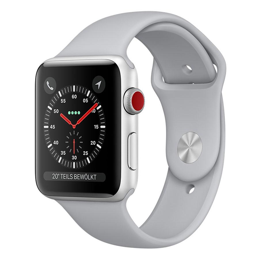 Montre connectée Apple Watch Series 3 GPS + Cellular Aluminium Argent Sport Nuage 42 mm Montre connectée - Aluminium - Etanche 50 m - GPS/GLONASS - Cardiofréquencemètre - Ecran Retina OLED 390 x 312 pixels - Wi-Fi/Bluetooth 4.2 - watchOS 4 - Bracelet Sport 42 mm