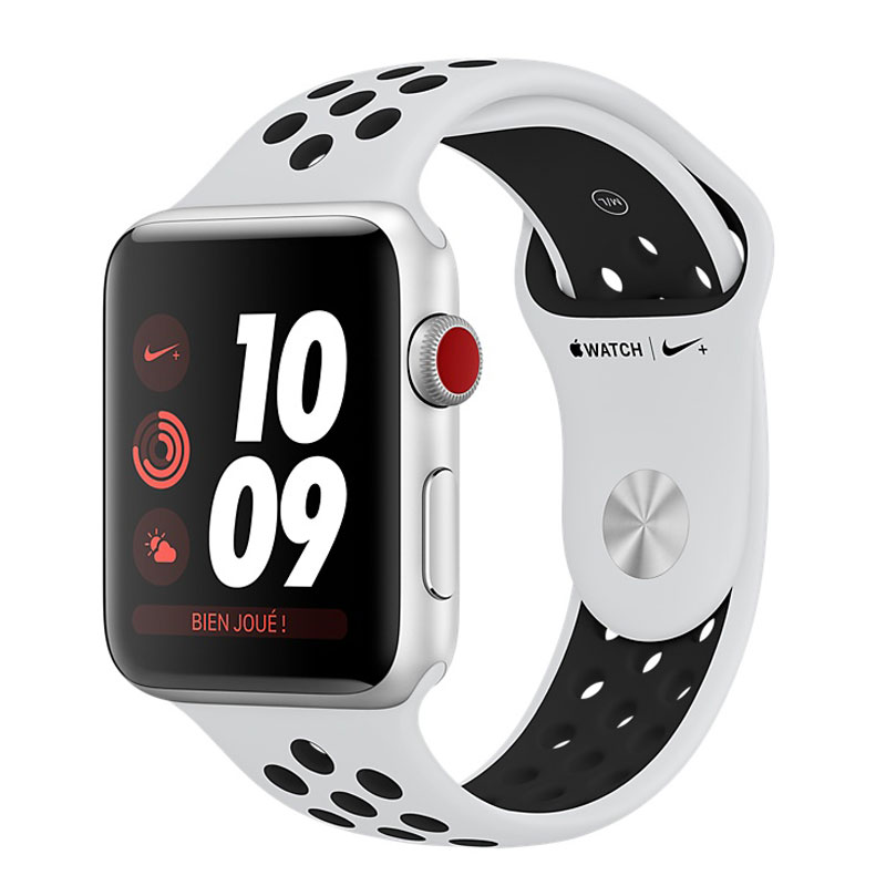 Montre connectée Apple Watch Nike+ Series 3 GPS + Cellular Aluminium Argent Sport Platine/Noir 38 mm Montre connectée - Aluminium - Etanche 50 m - GPS/GLONASS - Cardiofréquencemètre - Ecran Retina OLED 340 x 272 pixels - Wi-Fi/Bluetooth 4.2 - watchOS 4 - Bracelet Sport Nike 38 mm