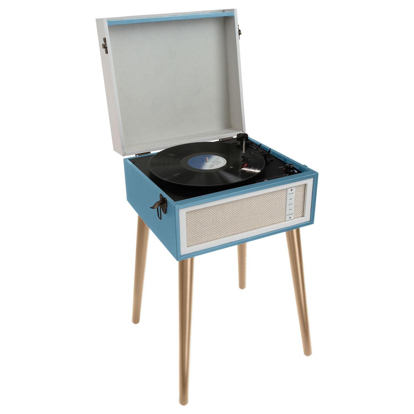 Platine vinyle ClipSonic TES190 Bleu Tourne-disque sur pieds avec Bluetooth AUX et encodage intégré