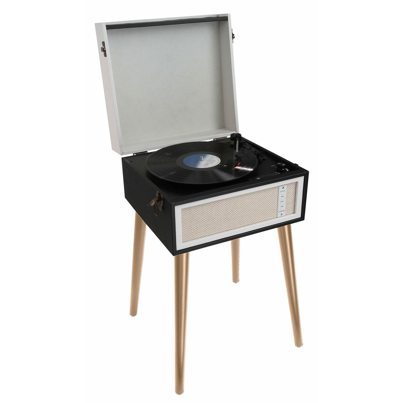 Platine vinyle ClipSonic TES190 Noir  Tourne-disque sur pieds avec Bluetooth AUX et encodage intégré