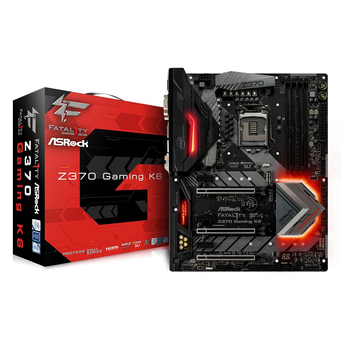 Carte mère ASRock Fatal1ty Z370 Gaming K6 Carte mère ATX Socket 1151 Intel Z370 Express - 4x DDR4 - SATA 6Gb/s + M.2 - USB 3.1 - 3x PCI-Express 3.0 16x