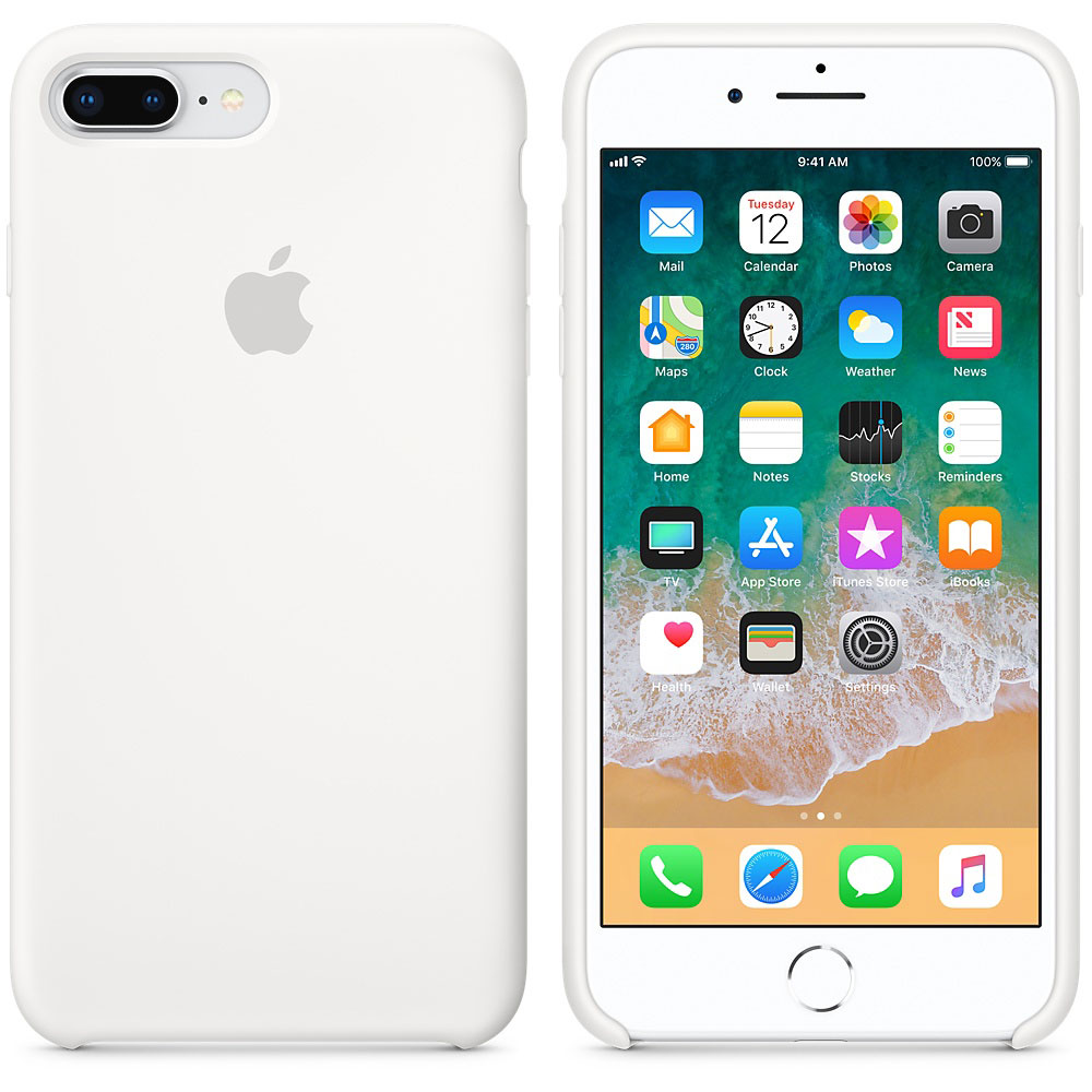 Apple Coque en silicone Blanc Apple iPhone 8 Plus / 7 Plus Coque en  silicone pour Apple iPhone 8 Plus / 7 Plus