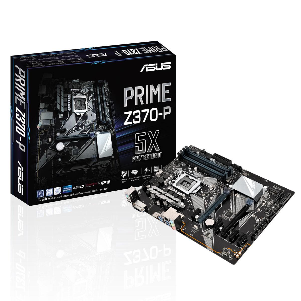 Carte mère ASUS PRIME Z370-P Carte mère ATX Socket 1151 Intel Z370 Express - 4x DDR4 - SATA 6Gb/s + M.2 - USB 3.0 - 2x PCI-Express 3.0 16x