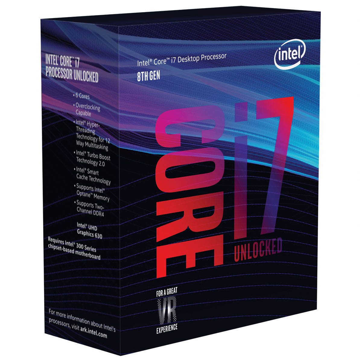 Processeur Intel Core i7-8700K (3.7 GHz) Processeur 6-Core Socket 1151 Cache L3 12 Mo Intel UHD Graphics 630 0.014 micron (version boîte sans ventilateur - garantie Intel 3 ans)
