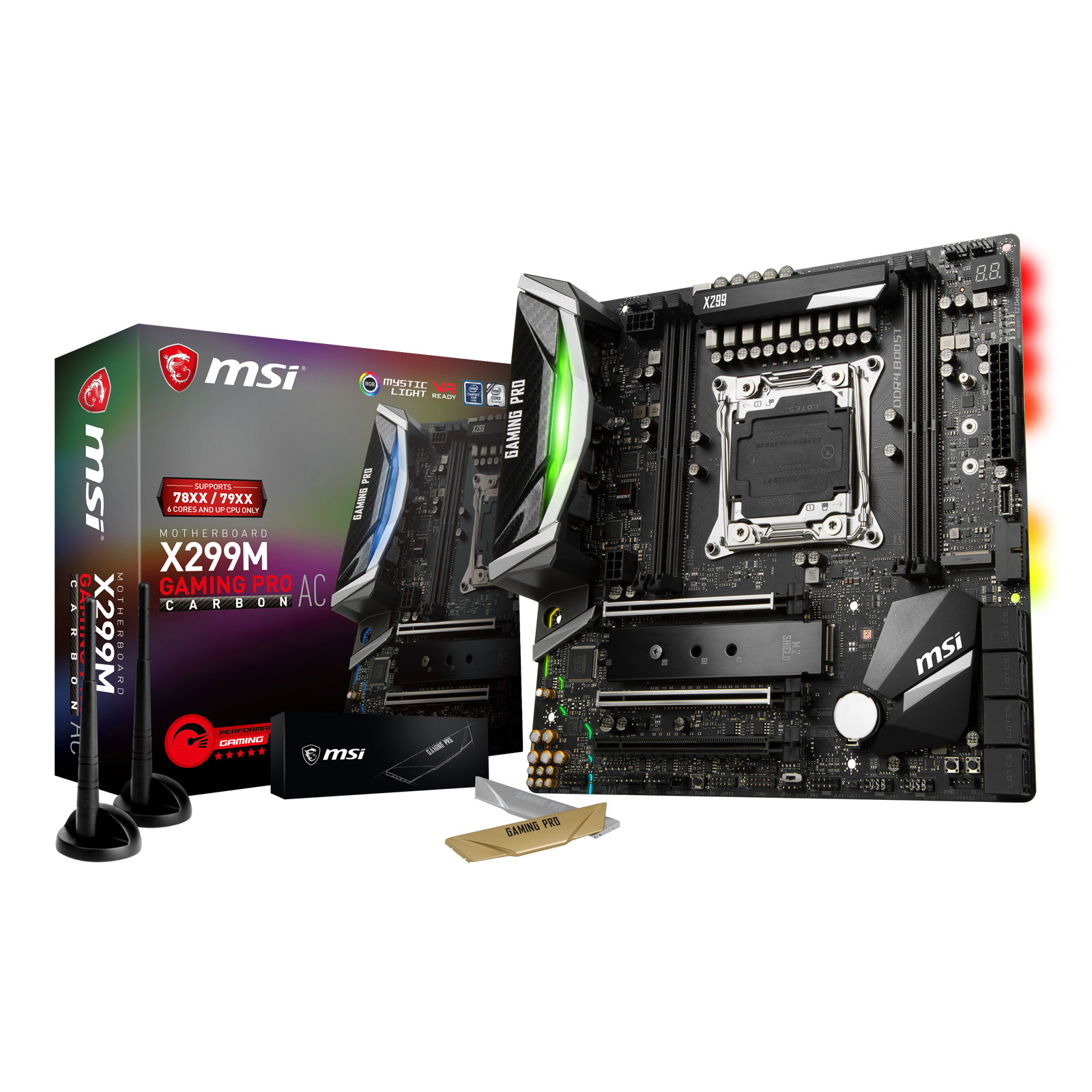 Carte mère MSI X299M GAMING PRO CARBON AC Carte mère micro ATX Socket 2066 Intel X299 Express - DDR4 - SATA 6Gb/s - M.2 - USB 3.1 - 3x PCI-Express 3.0 16x