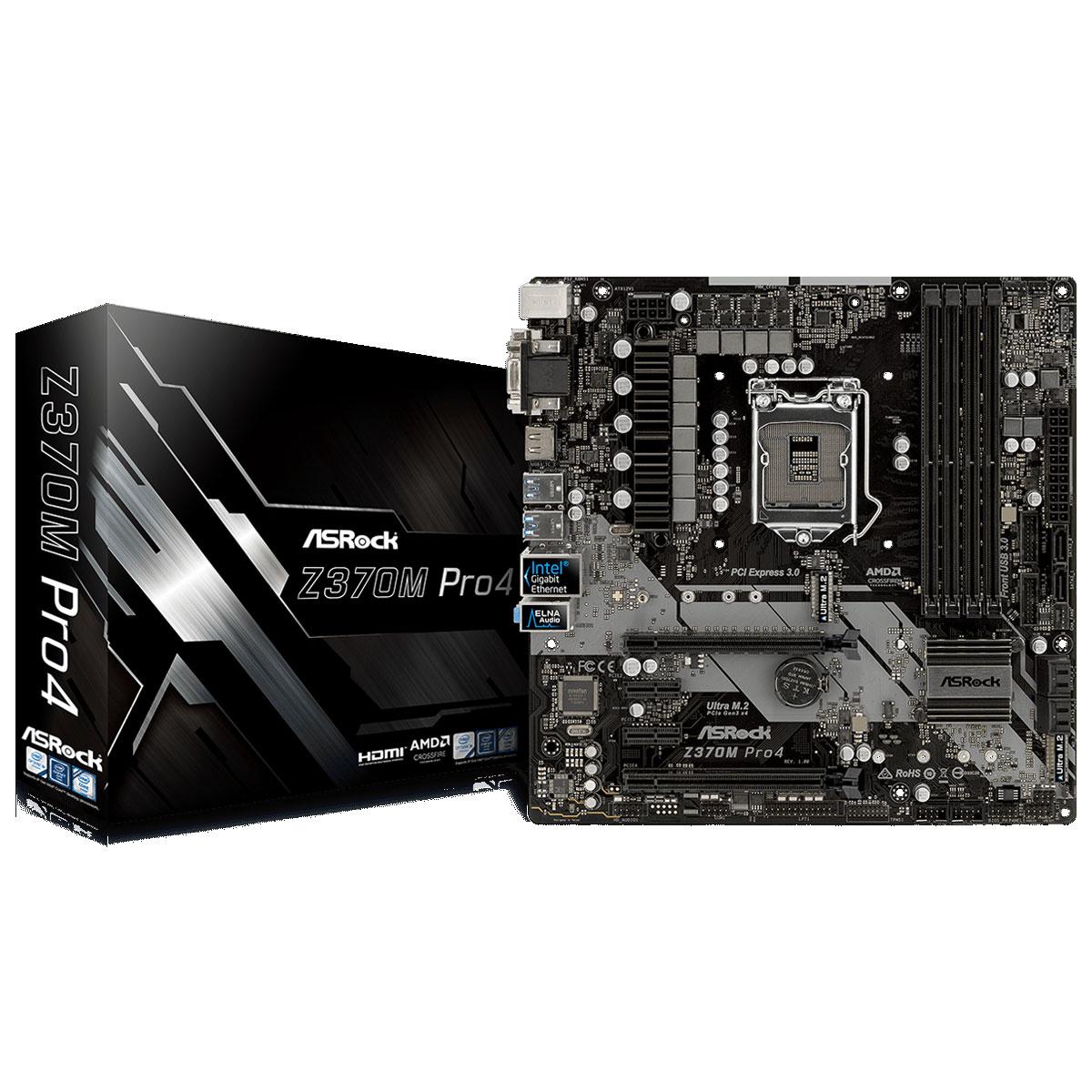 Carte mère ASRock Z370M PRO4 Carte mère Micro ATX Socket 1151 Intel Z370 Express - 4x DDR4 - SATA 6Gb/s + M.2 - USB 3.1 - 2x PCI-Express 3.0 16x