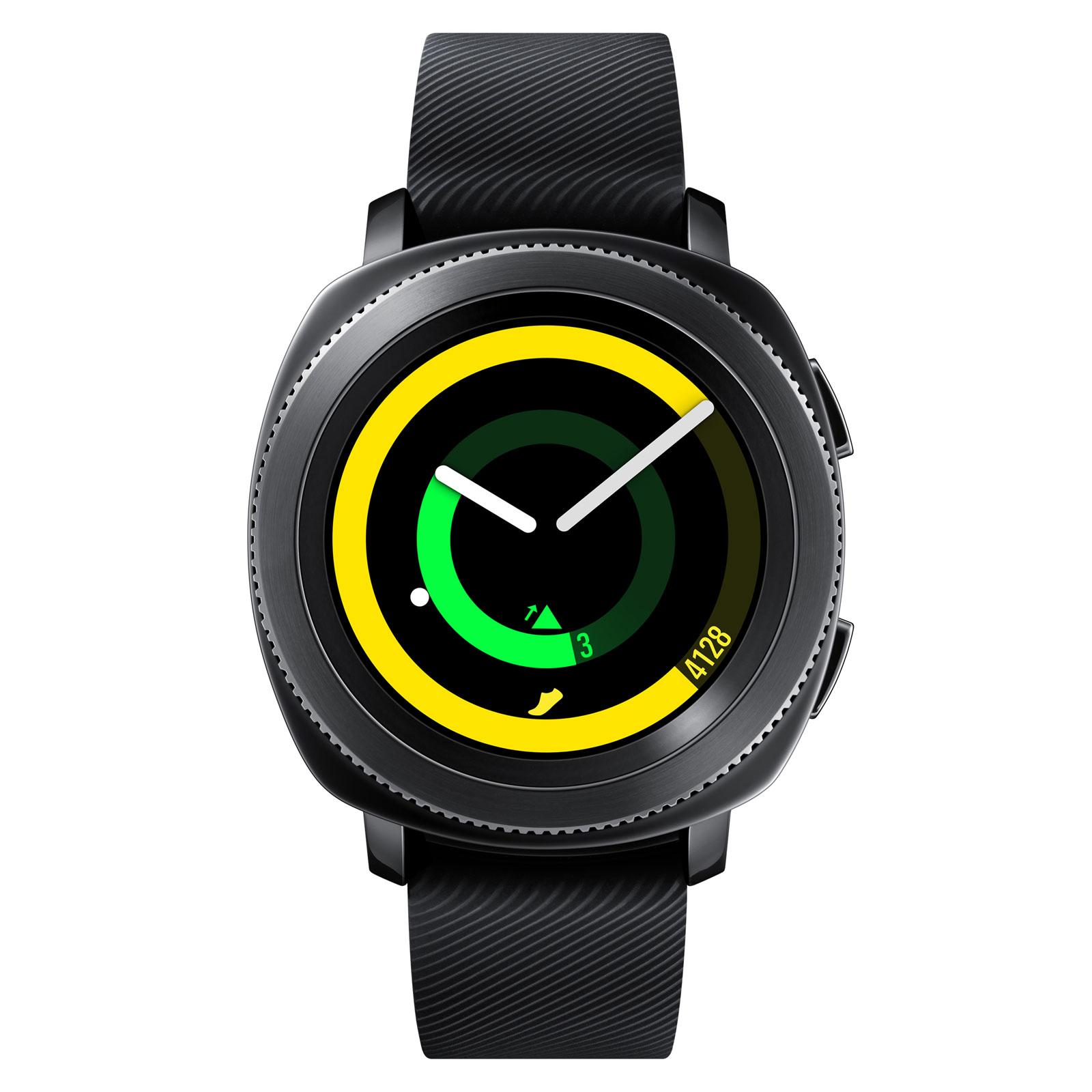 """Montre connectée Samsung Gear Sport Gris Acier Montre connectée étanche - Ecran 1.2"""" Super AMOLED 360 x 360 pixels - 4 Go - GPS - Wi-Fi/NFC/Bluetooth 4.2 - 300 mAh - Tizen 3.0"""