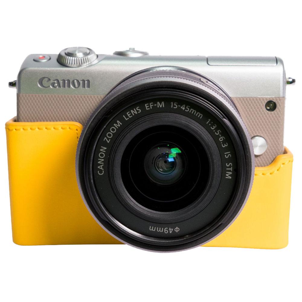 canon eos m100 argent ef m 15 45 mm is stm tui jaune appareil photo hybride canon sur. Black Bedroom Furniture Sets. Home Design Ideas