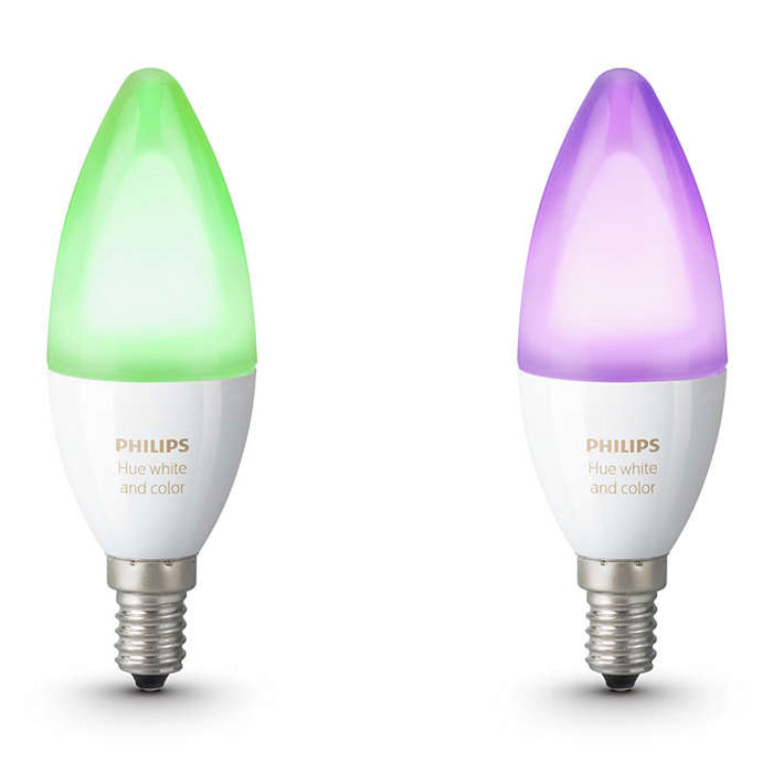 Philips hue white color ambiance flamme duobox e14 - Ampoule connectee philips ...