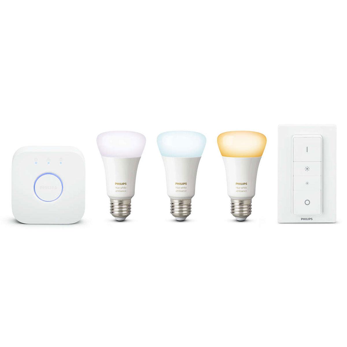 Philips hue white ambiance kit de d marrage e27 ampoule - Ampoule connectee philips ...