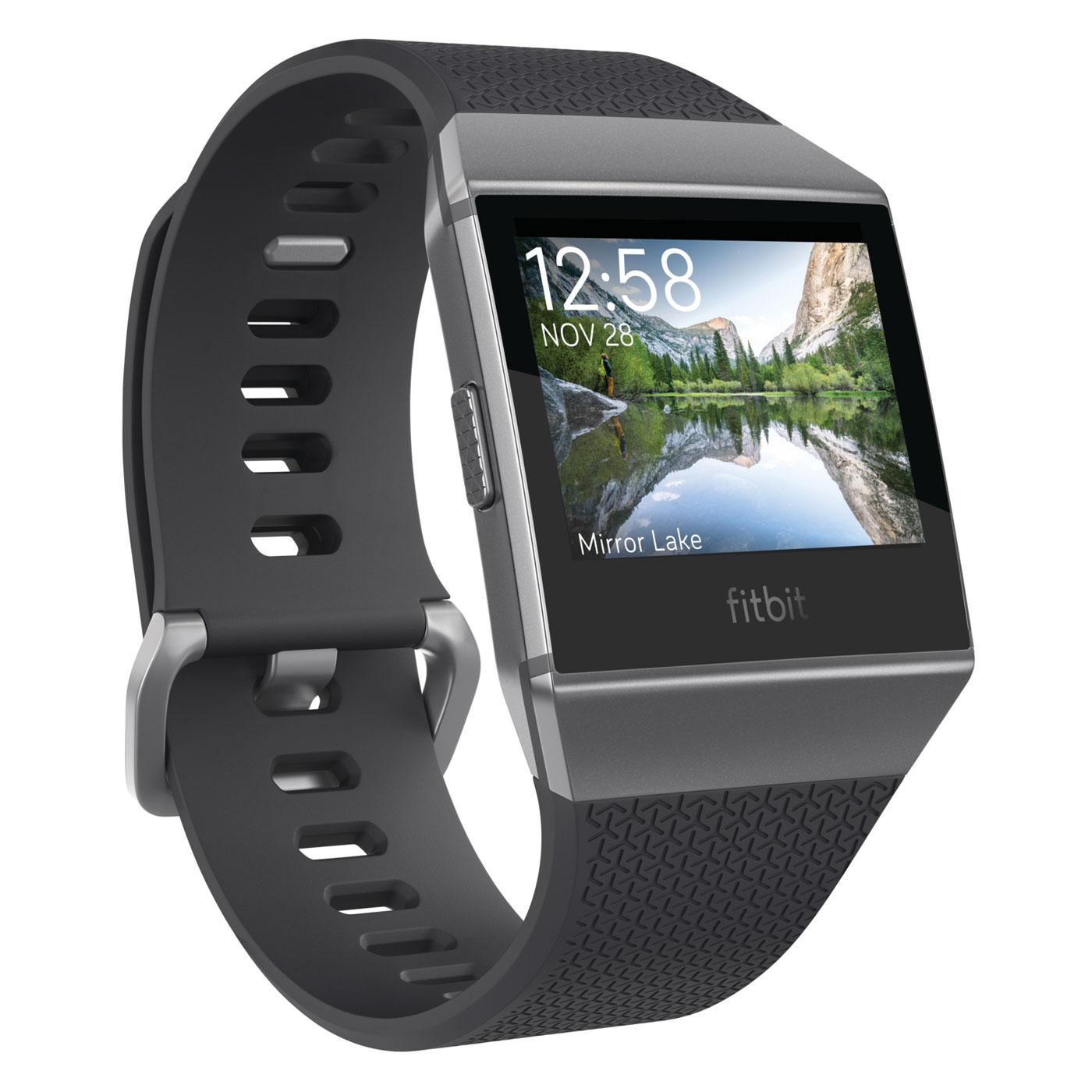 Bracelet connecté Fitbit Ionic Gris graphite Montre-coach connectée sans fil Bluetooth, étanche, paiement sans contact NFC, GPS et cardio-fréquencemètre pour smartphone iOS / Android / Windows