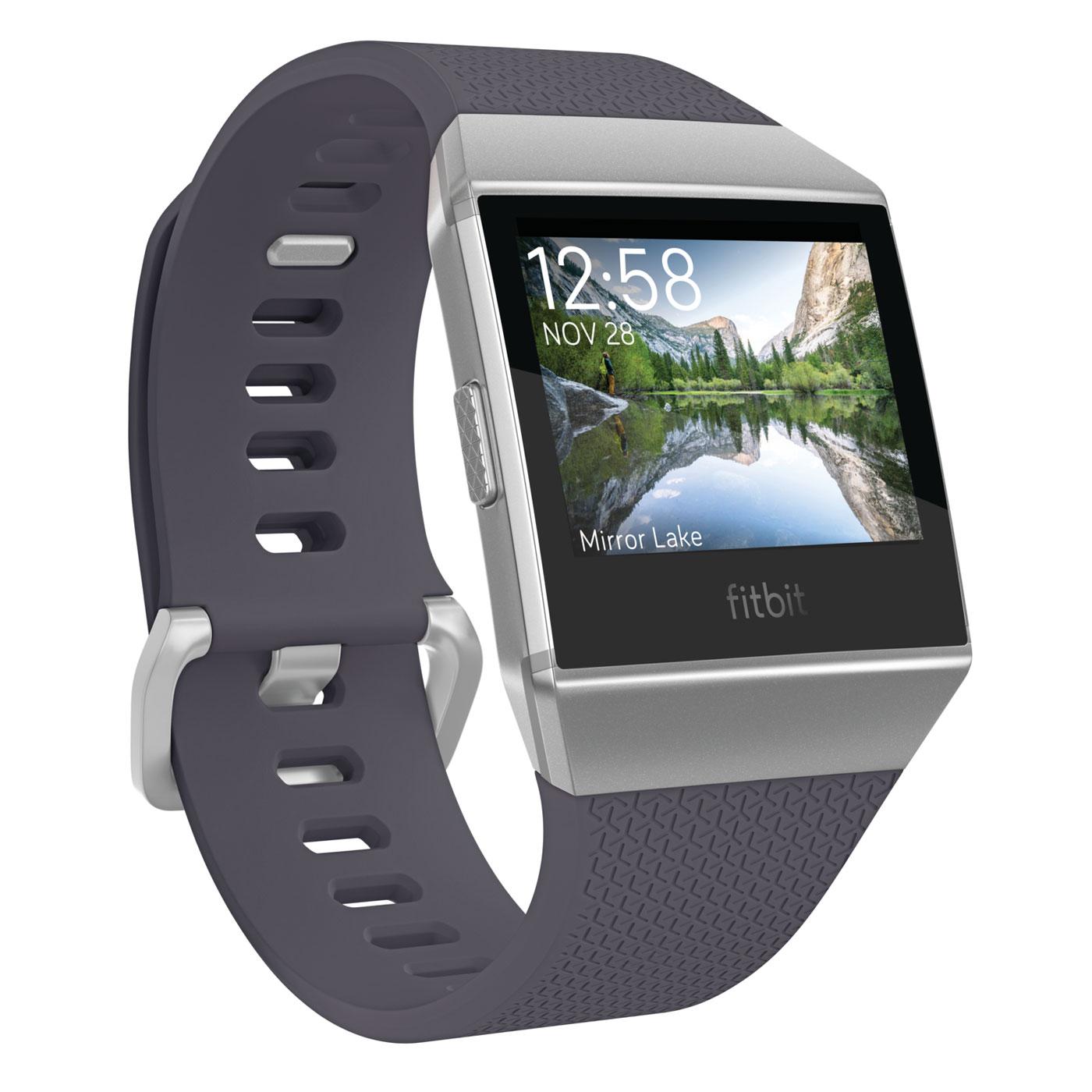 Bracelet connecté Fitbit Ionic Bleu gris / Argent Montre-coach connectée sans fil Bluetooth, étanche, paiement sans contact NFC, GPS et cardio-fréquencemètre pour smartphone iOS / Android / Windows