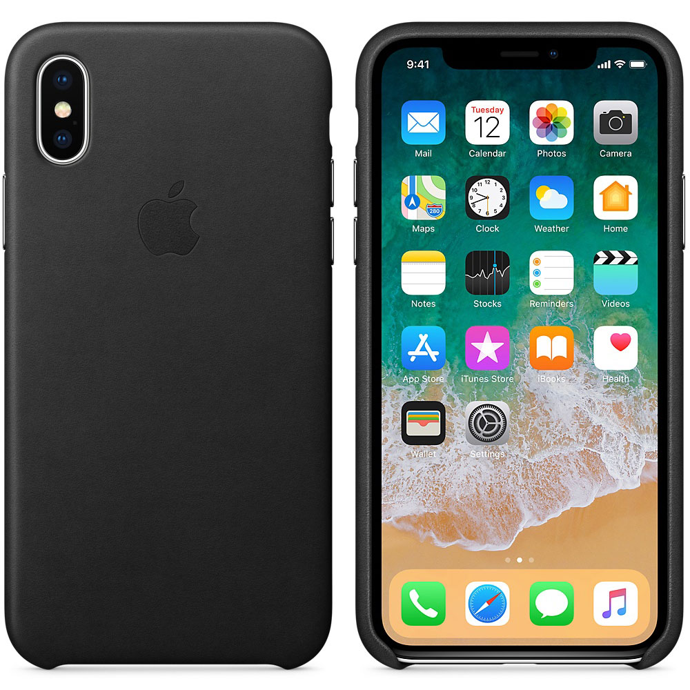 coque iphone x apple cuir noir