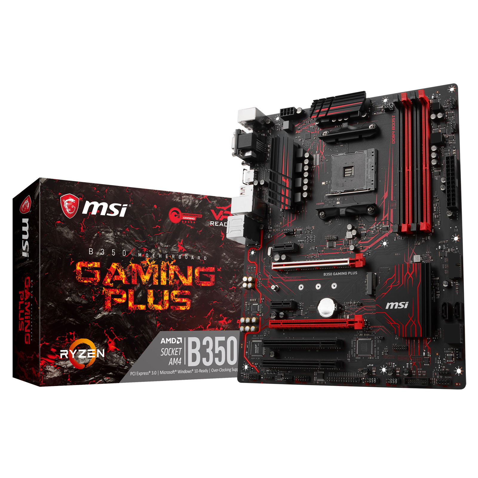 Carte mère MSI B350 GAMING PLUS Carte mère ATX Socket AM4 AMD B350 - 4x DDR4 - SATA 6Gb/s + M.2 - USB 3.0 - 2x PCI-Express 3.0 16x