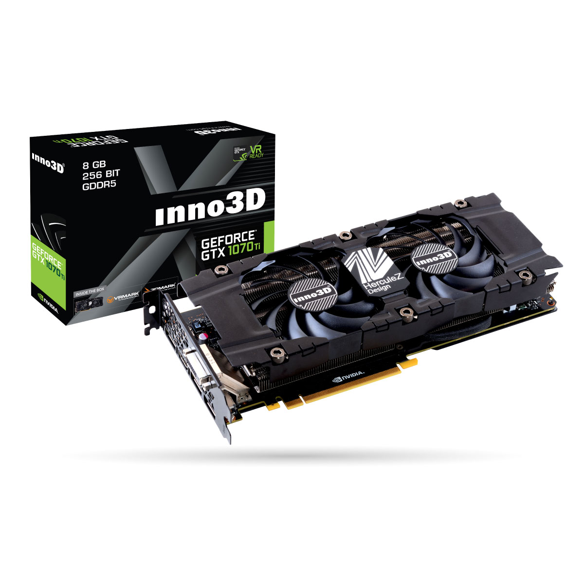 Carte graphique INNO3D GeForce GTX 1070 Ti TWIN X2 8192 Mo DVI/HDMI/Tri DisplayPort - PCI Express (NVIDIA GeForce avec CUDA GTX 1070 Ti)