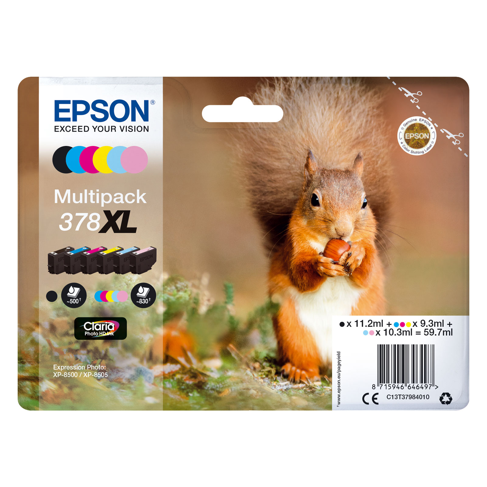 epson ecureuil multipack 378xl cartouche imprimante epson sur. Black Bedroom Furniture Sets. Home Design Ideas