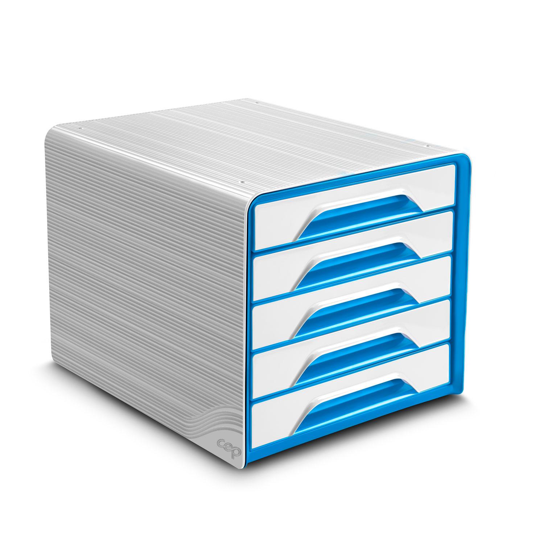 Module de classement CEP Smoove Bloc de classement 5 tiroirs Blanc/Bleu Océan Bloc de classement 5 tiroirs fermés 24 x32 cm Blanc/Bleu Océan