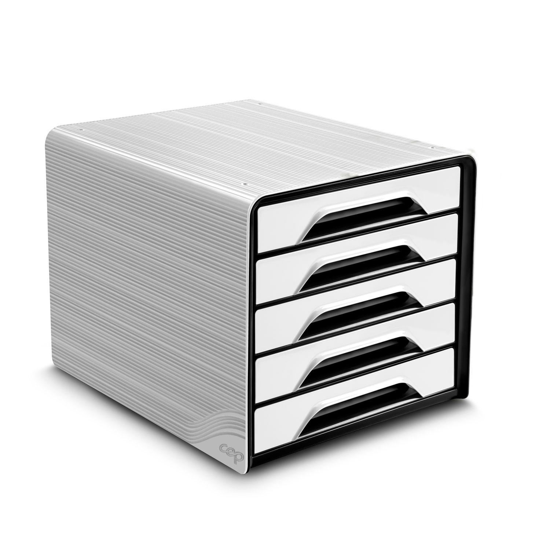 Module de classement CEP Smoove Bloc de classement 5 tiroirs Blanc/Noir Bloc de classement 5 tiroirs fermés 24 x32 cm Blanc/Noir