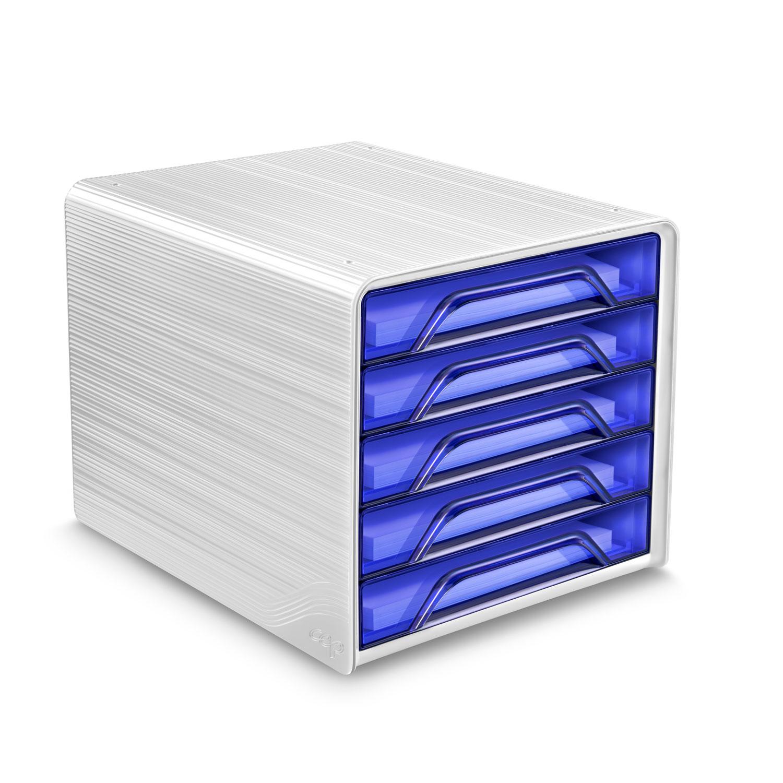 Module de classement CEP Smoove Bloc de classement 5 tiroirs Bleu Electrique Bloc de classement 5 tiroirs fermés 24 x32 cm Bleu Electrique