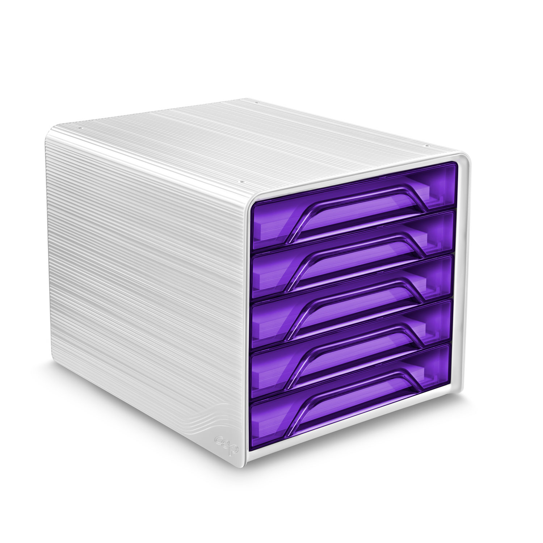 Module de classement CEP Smoove Bloc de classement 5 tiroirs Ultra Violet Bloc de classement 5 tiroirs fermés 24 x32 cm Ultra Violet
