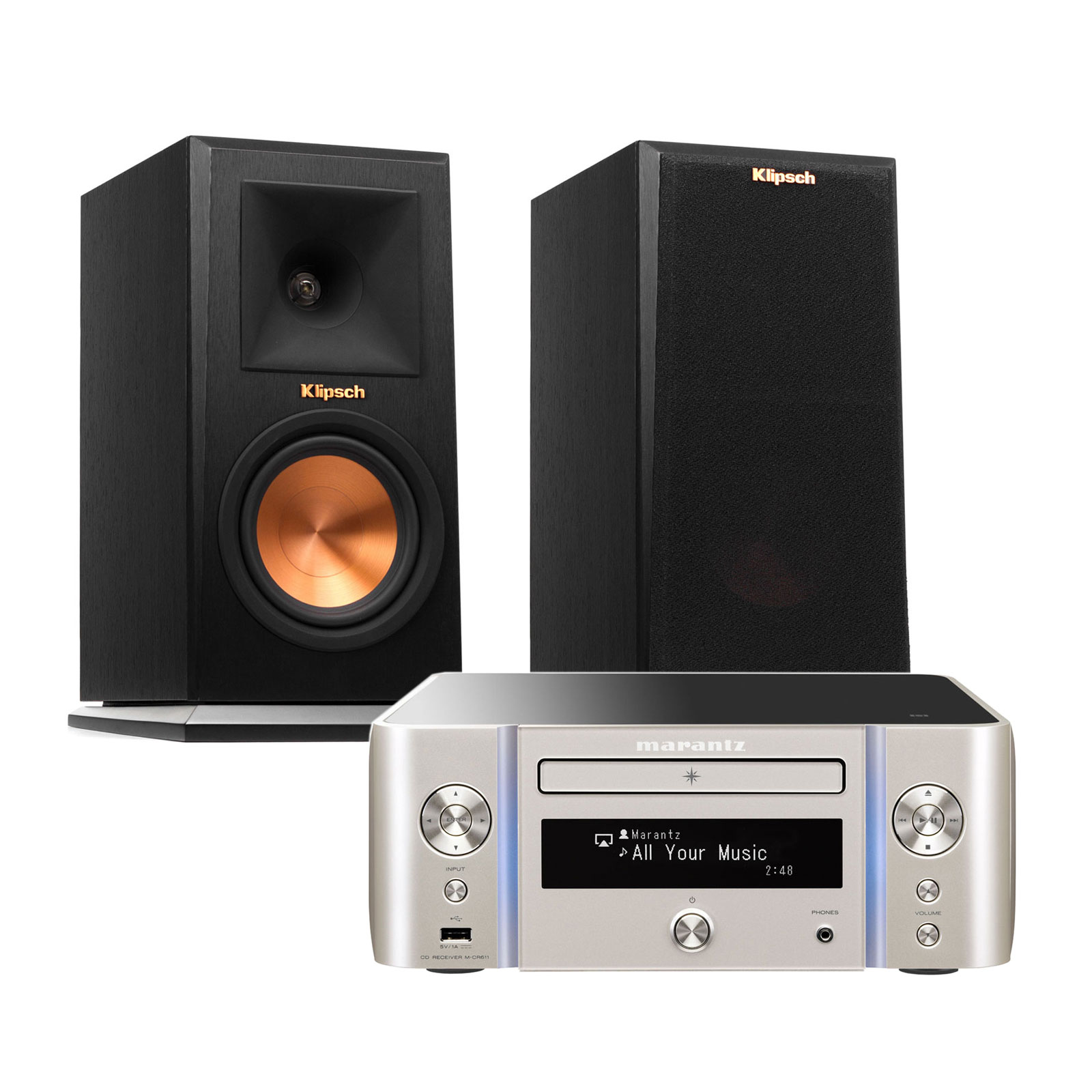 marantz melody stream m cr611 argent or klipsch rp 150m cha ne hifi marantz sur. Black Bedroom Furniture Sets. Home Design Ideas