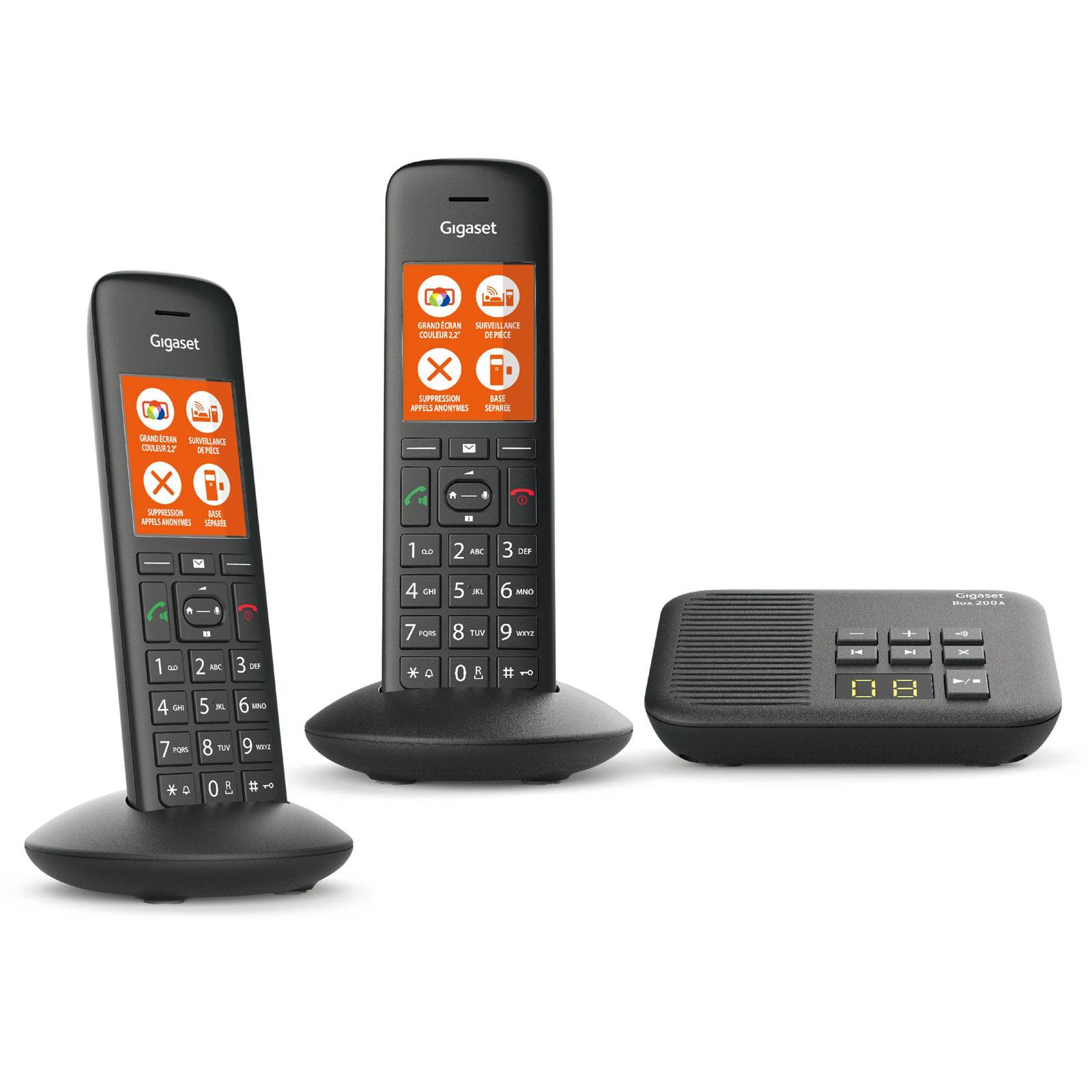 Téléphone sans fil Gigaset C570A Duo Noir Téléphone DECT sans fil avec répondeur et combiné supplémentaire