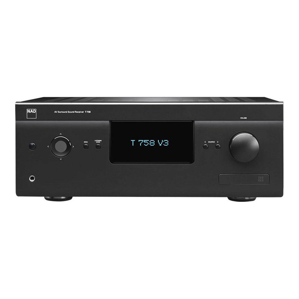 Ampli home cinéma NAD T 758 V3 Graphite Ampli-tuner Home Cinema 7.1 - 7 x 60 W - 3x HDMI 2.0 - HDCP 2.0 - Ultra HD 4K - Multiroom BluOS - Dirac Live - Hi-Res Audio - Dolby Atmos - Conception modulaire MDC