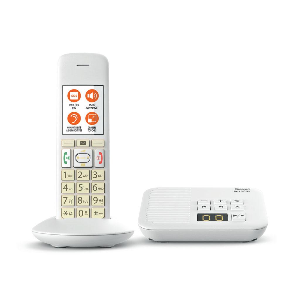 Téléphone sans fil Gigaset E370A Solo Blanc Téléphone DECT sans fil avec touches SOS et répondeur