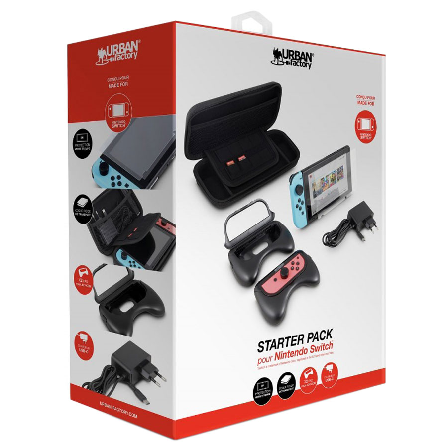 Accessoires Nintendo Switch Urban Factory Starter Pack Switch Pack d\u0027accessoires  pour console Nintendo Switch