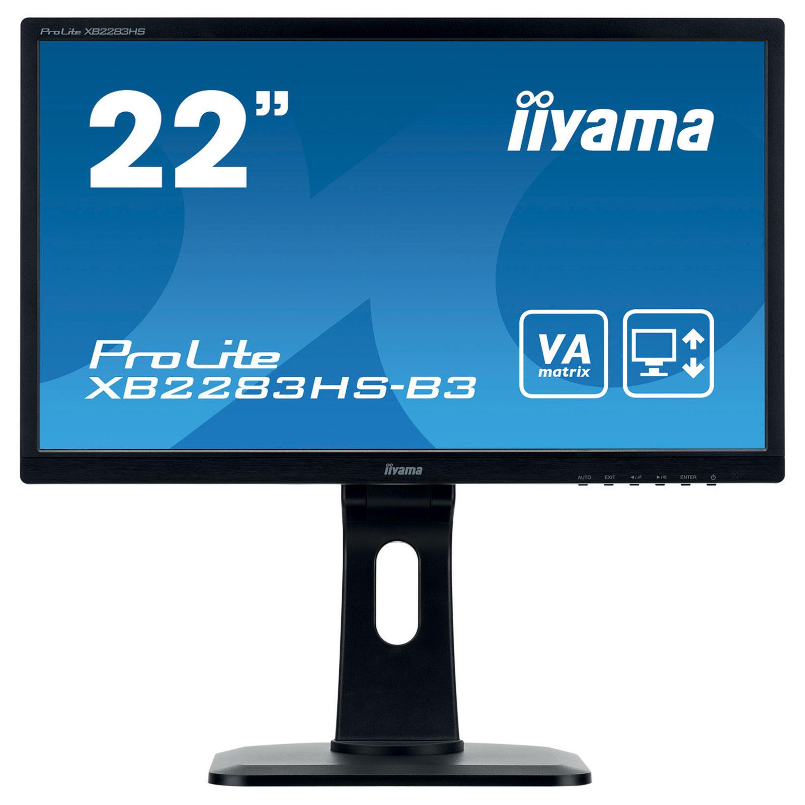 "Ecran PC iiyama 21.5"" LED - ProLite XB2283HS-B3 1920 x 1080 pixels - 4 ms (Gris à Gris) - Format large 16/9 - Dalle VA - Pivot - VGA/HDMI/DisplayPort - Noir"