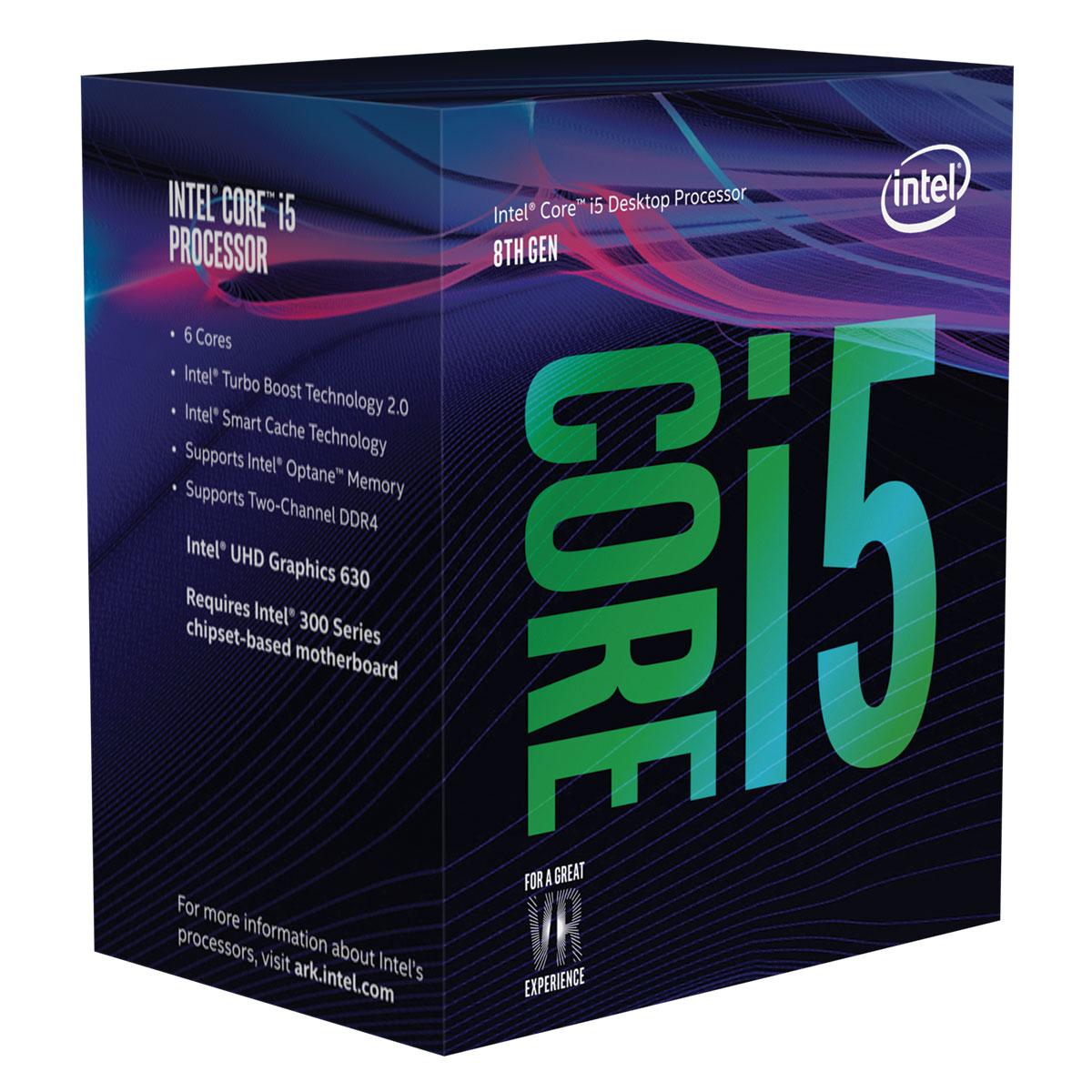 Processeur Intel Core i5-8400 (2.8 GHz) Processeur 6-Core Socket 1151 Cache L3 9 Mo Intel UHD Graphics 630 0.014 micron (version boîte - garantie Intel 3 ans)