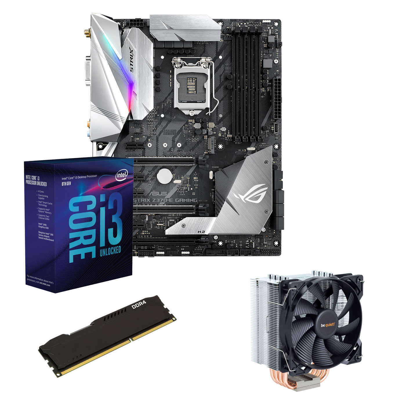Kit upgrade PC Kit Upgrade PC Core i3K ASUS ROG STRIX Z370E GAMING 4 Go Carte mère Socket 1151 Intel Z370 Express + CPU Intel Core i3-8350K (4.0 GHz) + RAM 4 Go DDR4