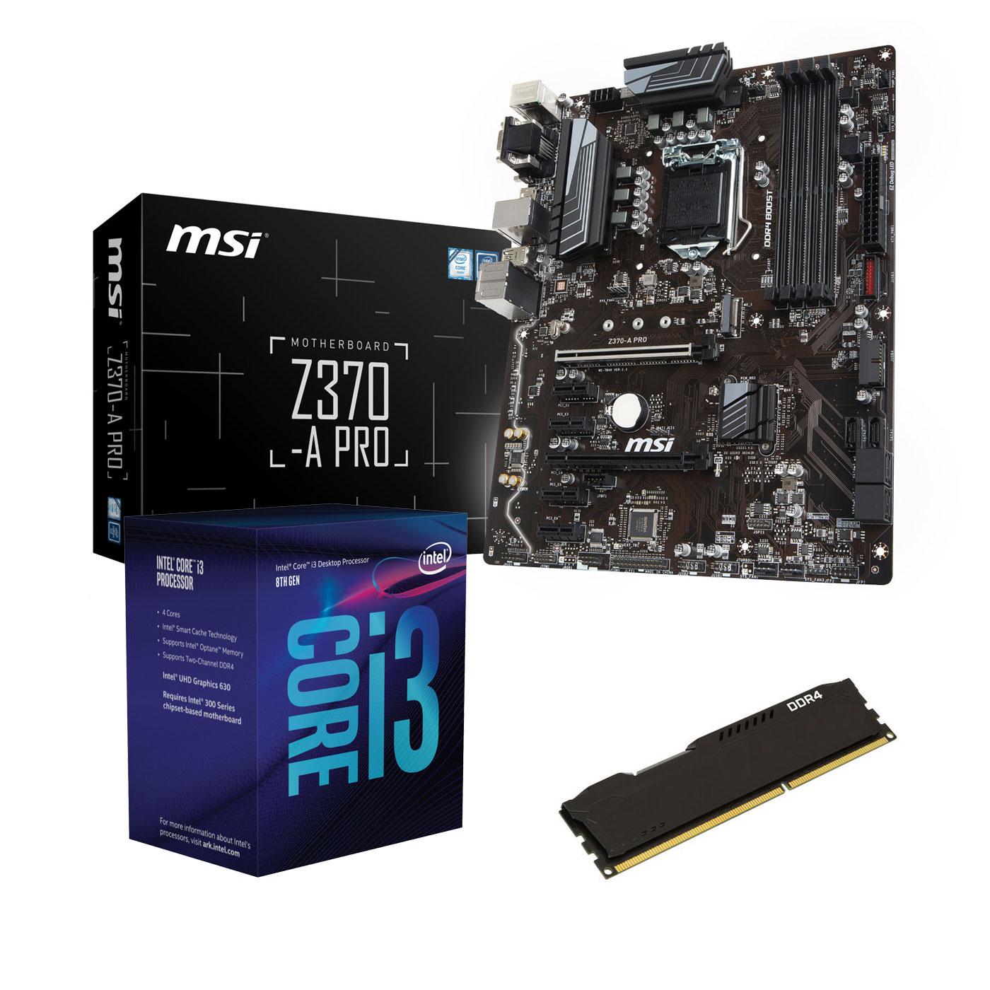 Kit upgrade PC Kit Upgrade PC Core i3 MSI Z370-A PRO 4 Go Carte mère Socket 1151 Intel Z370 Express + CPU Intel Core i3-8100 (3.6 GHz) + RAM 4 Go DDR4