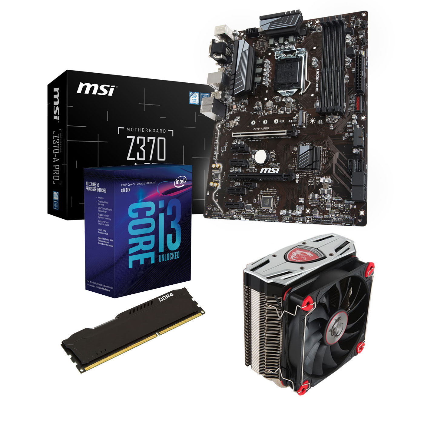 Kit upgrade PC Kit Upgrade PC Core i3K MSI Z370-A PRO 4 Go Carte mère Socket 1151 Intel Z370 Express + CPU Intel Core i3-8350K (4.0 GHz) + RAM 4 Go DDR4