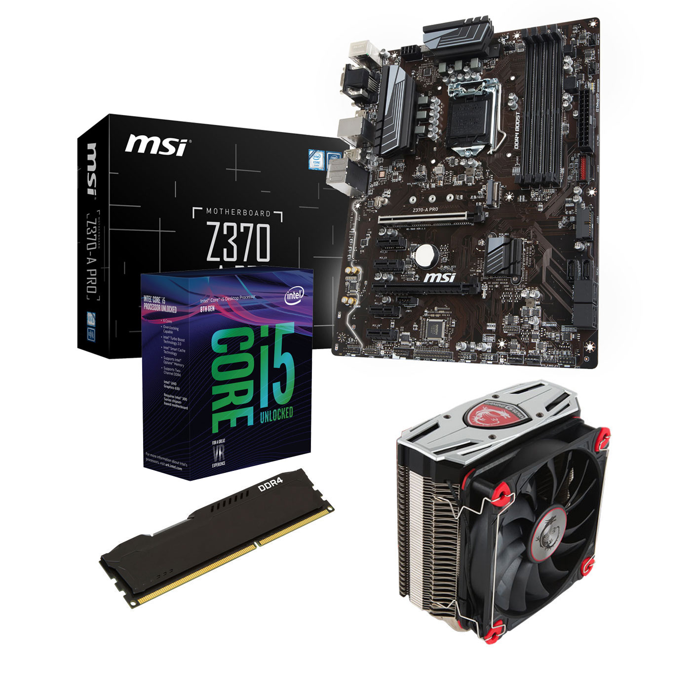 Kit upgrade PC Kit Upgrade PC Core i5K MSI Z370-A PRO 8 Go Carte mère Socket 1151 Intel Z370 Express + CPU Intel Core i5-8600K (3.6 GHz) + RAM 8 Go DDR4