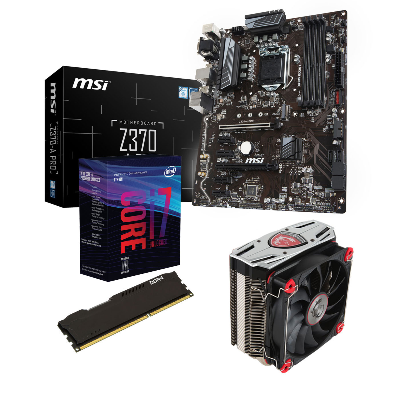Kit upgrade PC Kit Upgrade PC Core i7K MSI Z370-A PRO 8 Go Carte mère Socket 1151 Intel Z370 Express + CPU Intel Core i7-8700K (3.7 GHz) + RAM 8 Go DDR4