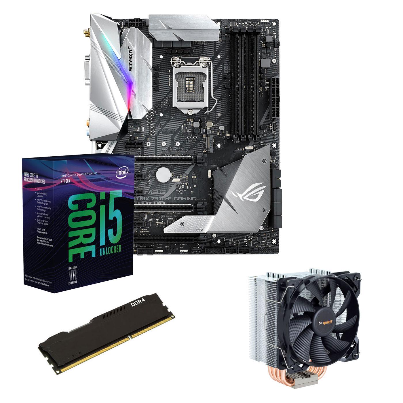 Kit upgrade PC Kit Upgrade PC Core i5K ASUS ROG STRIX Z370E GAMING 8 Go Carte mère Socket 1151 Intel Z370 Express + CPU Intel Core i5-8600K (3.6 GHz) + RAM 8 Go DDR4