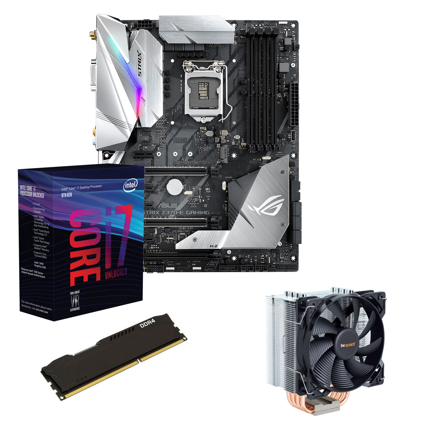 Kit upgrade PC Kit Upgrade PC Core i7K ASUS ROG STRIX Z370E GAMING 8 Go Carte mère Socket 1151 Intel Z370 Express + CPU Intel Core i7-8700K (3.7 GHz) + RAM 8 Go DDR4