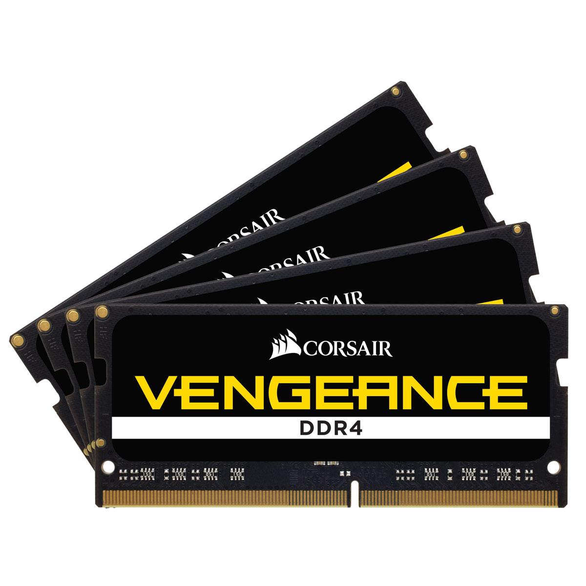 Mémoire PC Corsair Vengeance SO-DIMM DDR4 32 Go (4 x 8 Go) 3600 MHz CL16 Kit Quad Channel RAM DDR4 PC4-28800 - CMSX32GX4M4X3600C16 (garantie 10 ans par Corsair)