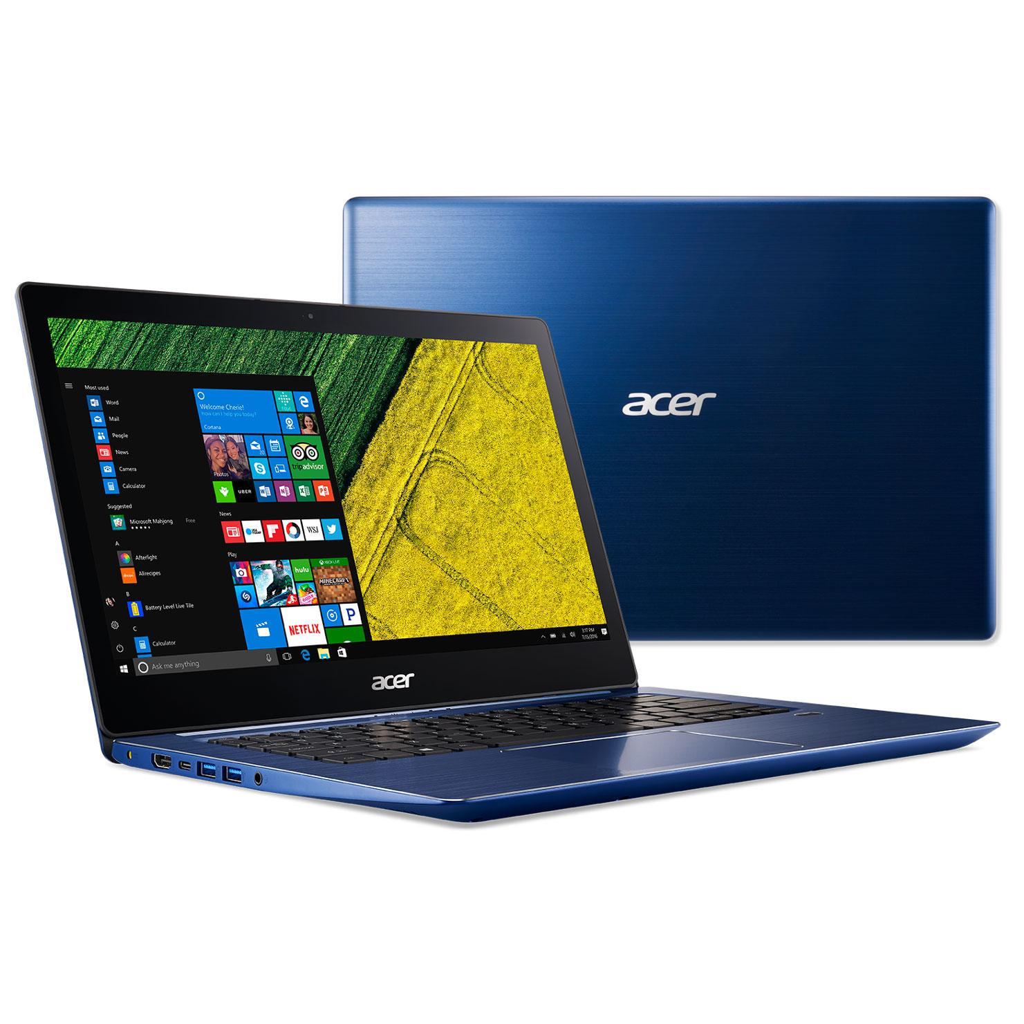 Acer Swift 3 SF314 52 54LU Bleu Intel Core I5 7200U 4 Go SSD 256 14 LED Full HD Wi Fi AC Bluetooth Webcam Windows 10 Famille 64 Bits