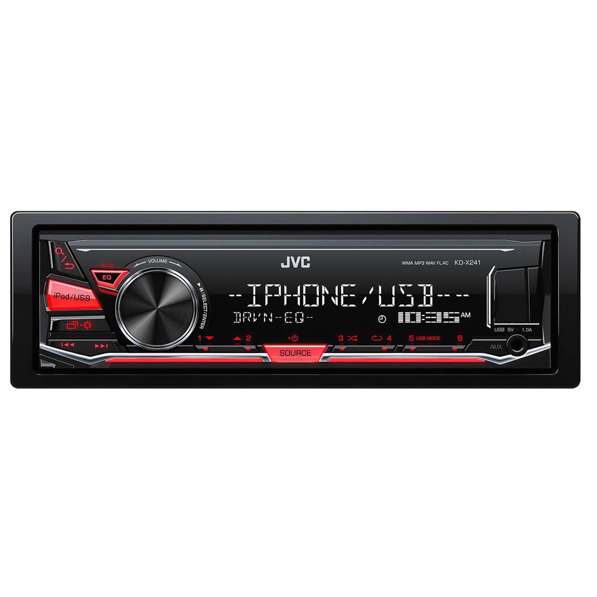 Autoradio JVC KD-X241 Autoradio MP3 / FM pour iPod/iPhone, Android, port USB et entrée AUX