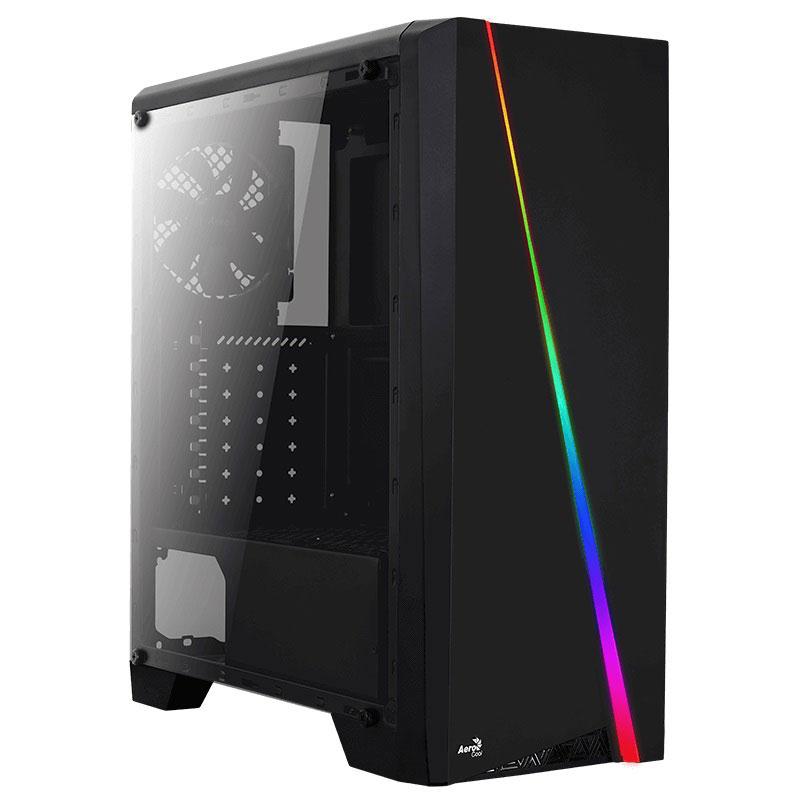 Boîtier PC Aerocool Cylon (Noir) Boîtier Moyen Tour avec fenêtre latérale et rétroéclairage RGB en façade