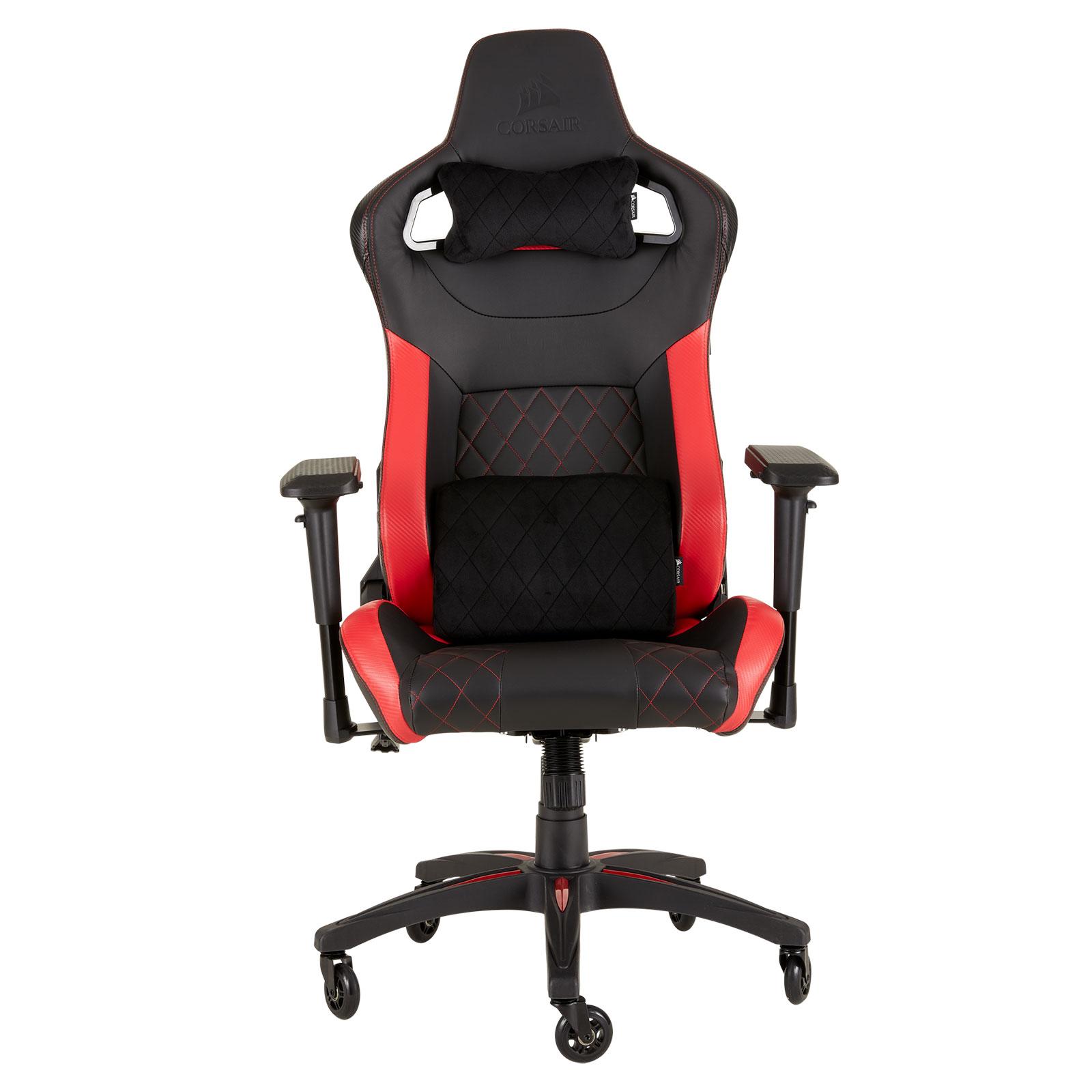 Fauteuil gamer Corsair T1 Race V2 (noir/rouge) Siège gaming - revêtement en similicuir - assise moulée ferme - accoudoirs 4D - dossier inclinable à 180° - siège inclinable à 10° - poids limité à 120 kg