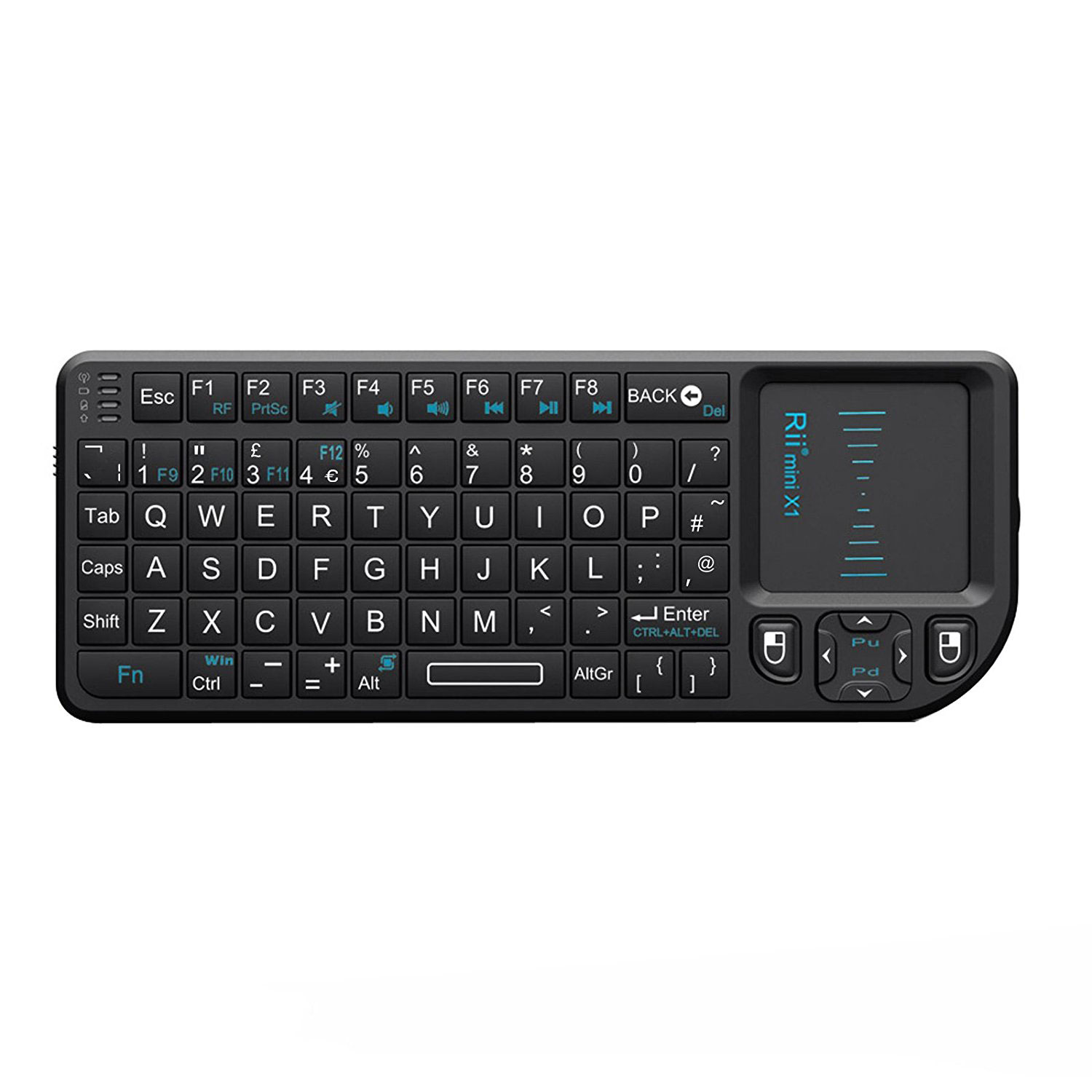 Clavier PC Riitek RII Mini Wireless Keyboard X1 Clavier compact sans fil pour Windows - Mac OS X - Linux - Android - Smart TV - PlayStation 3 et 4 - Xbox 360 et One - Raspberry Pi