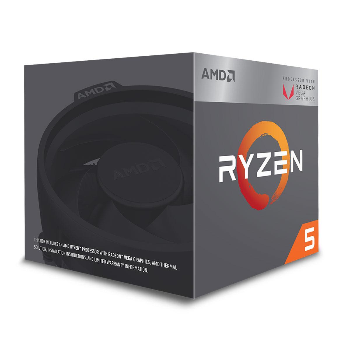 Processeur AMD Ryzen 5 2400G Wraith Stealth Edition (3.6 GHz) Processeur Quad Core socket AM4 Cache L3 4 Mo Radeon Vega Graphics 11 Coeurs  0.014 micron TDP 65W avec système de refroidissement (version boîte - garantie constructeur 3 ans)