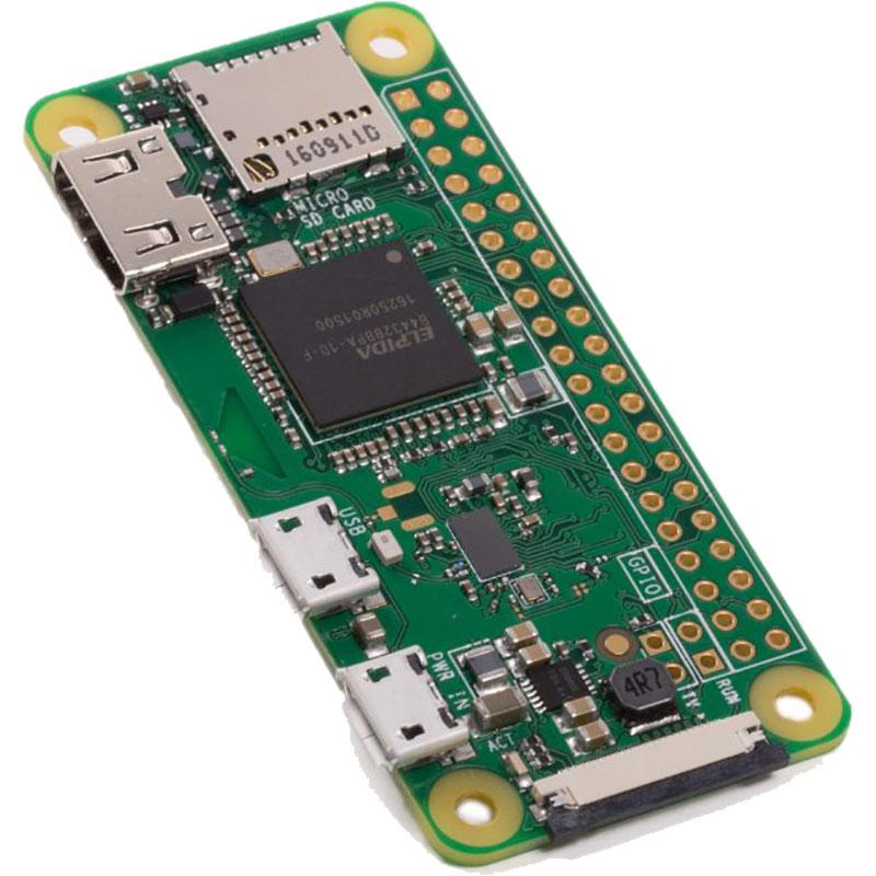 Carte Raspberry Pi Raspberry Pi Zero W Carte mère ultra-compacte avec processeur ARM11 Broadcom BCM2835 Single Core 1 Ghz- RAM 512 Mo -  mini HDMI - 2 x micro USB - CSI - micro-SD - Bluetooth 4.1 - Wi-Fi b/g/n