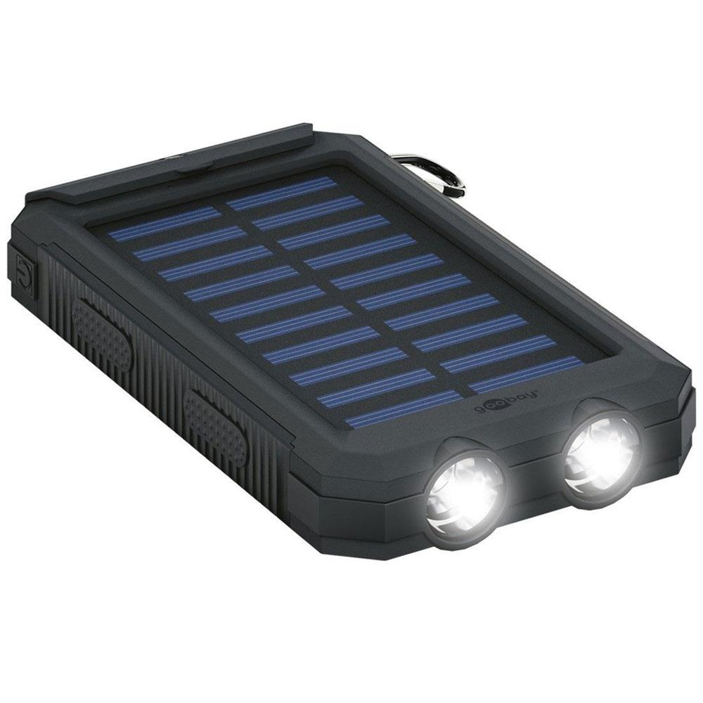 Batterie téléphone Goobay Outdoor PowerBank 8.0 Chargeur de batterie de secours pour smartphone et tablette - capacité 8 000 mAh - cellule solaire rechargeable 200 mA* - résistant à l'eau et à la poussière (certification IP45) - boussole et lampe LED intégrées - 2 ports USB