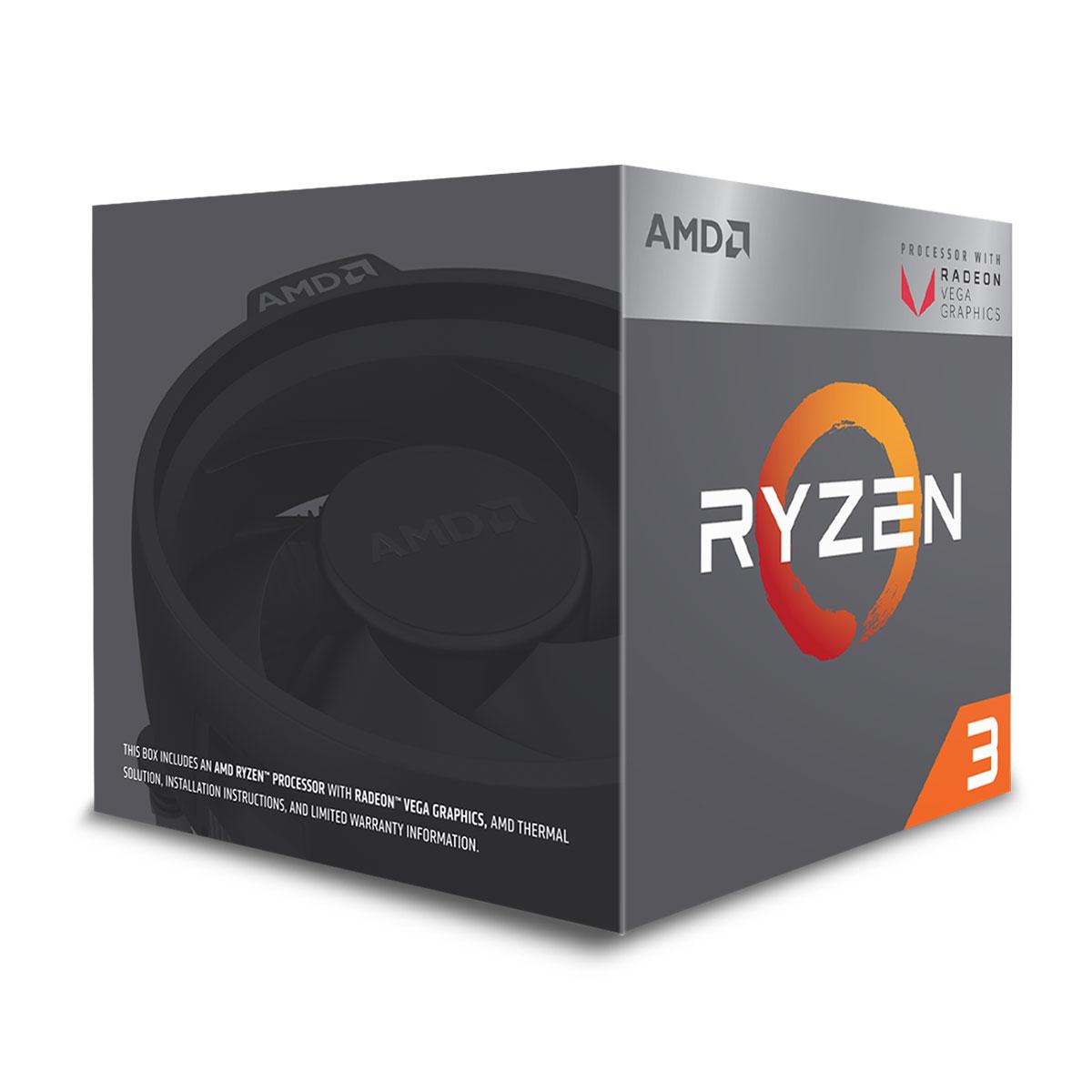 Processeur AMD Ryzen 3 2200G Wraith Stealth Edition (3.5 GHz) avec mise à jour BIOS Processeur Quad Core socket AM4 Cache L3 4 Mo Radeon Vega Graphics 8 coeurs  0.014 micron TDP 65W avec système de refroidissement (version boîte - garantie constructeur 3 ans)