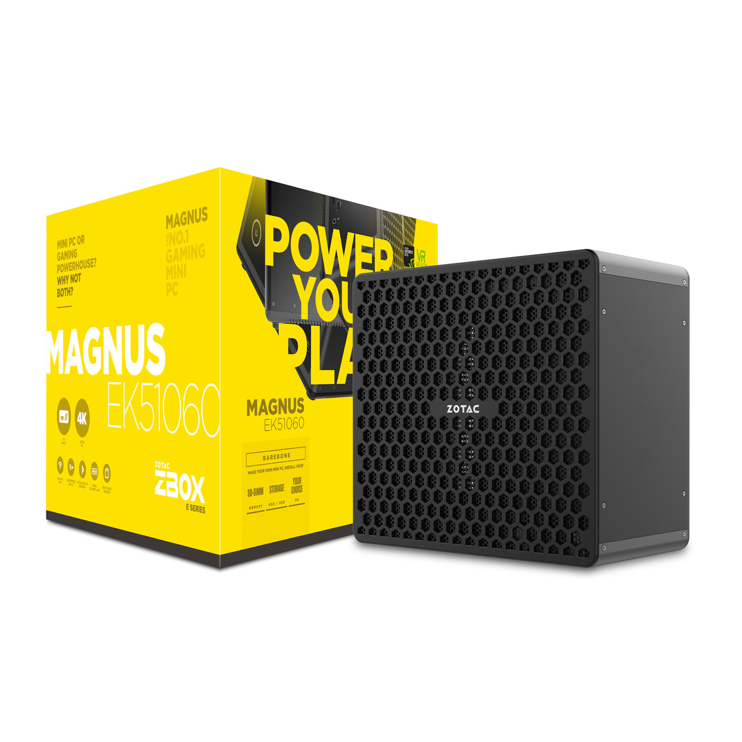 Barebone PC ZOTAC ZBOX MAGNUS EK51060 Intel Core i5-7300HQ GeForce GTX 1060 Wi-Fi AC / Bluetooth 4.2 (sans écran/mémoire/disque dur)